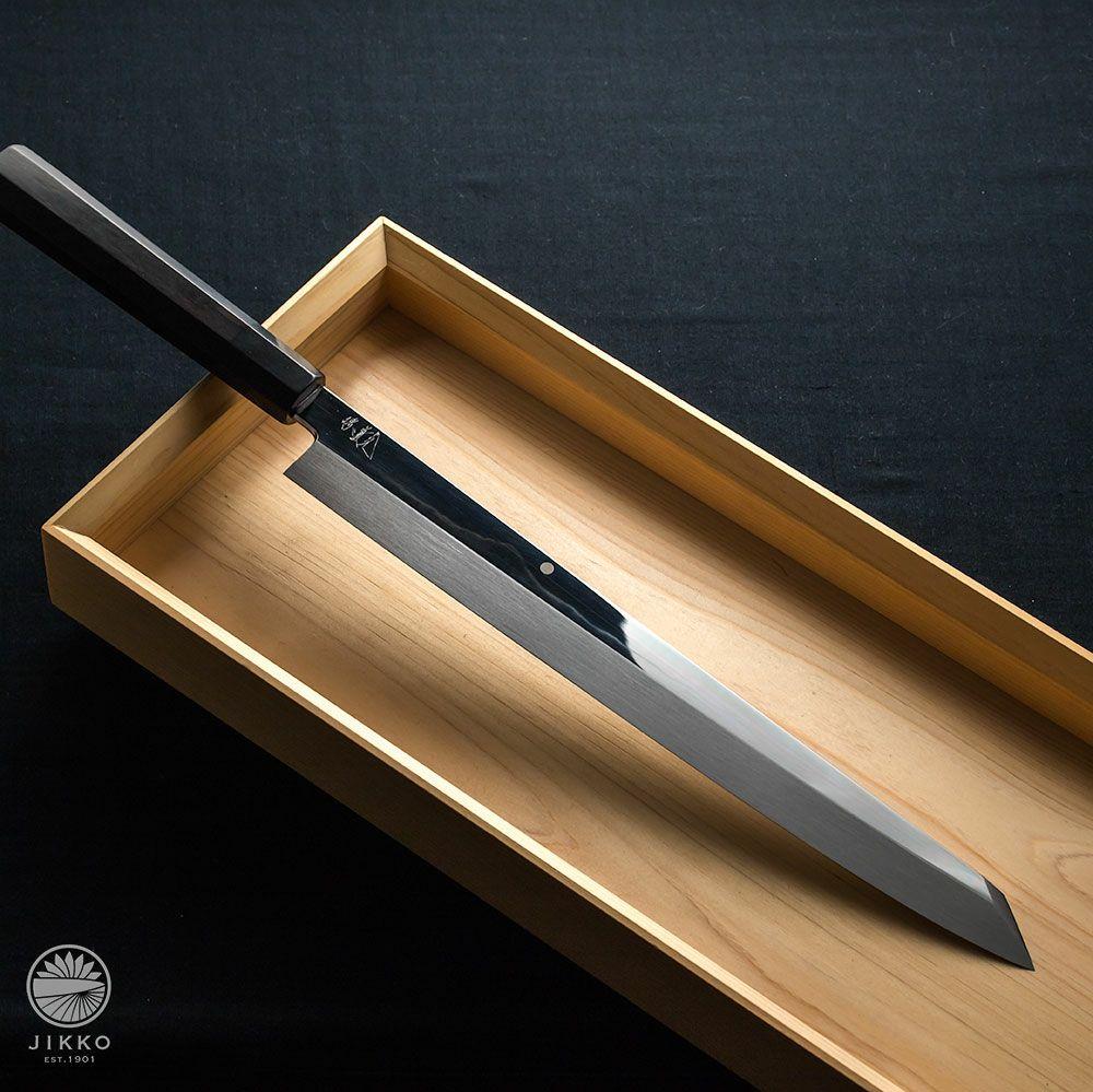 本焼白 富士山 黒檀 刺身切付 330mm