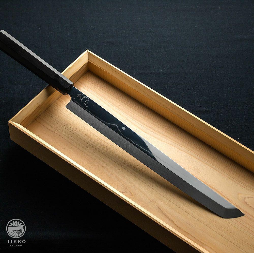 本焼白 富士山 黒檀 刺身先丸 330mm
