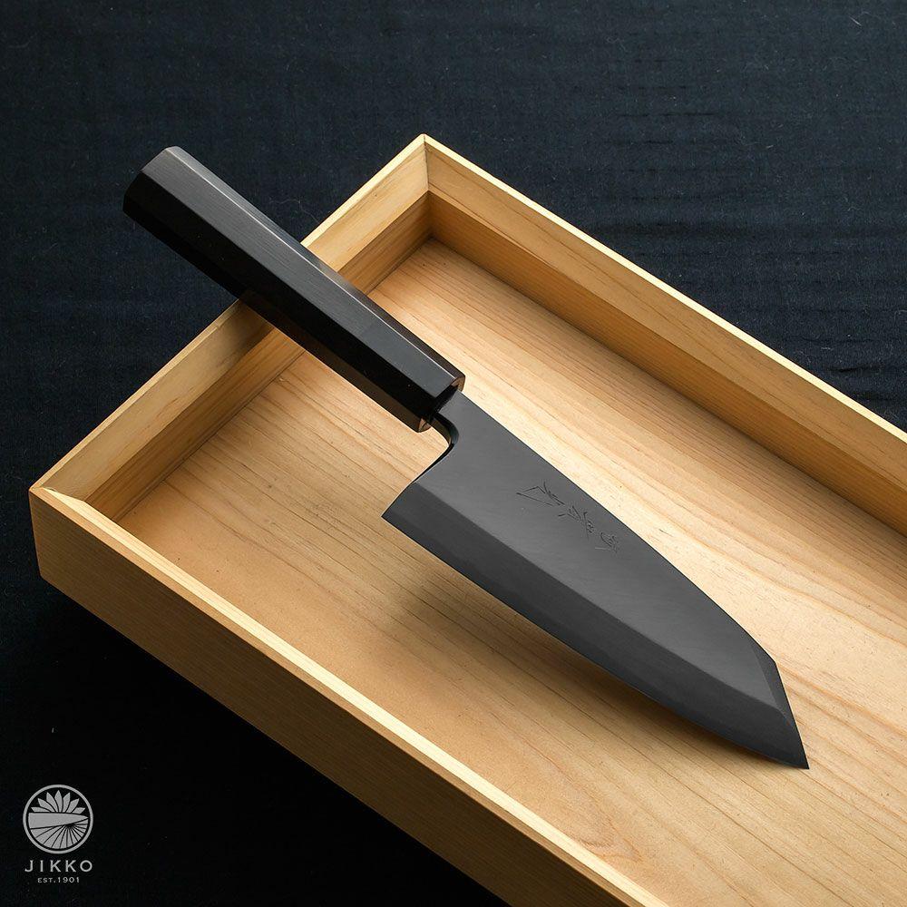 銀座 黒染 白鋼 出刃切付 180mm